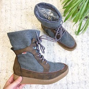 Rocket Dog Cray Lace Up Boots Grey Brown Size 8